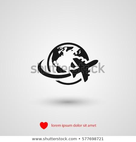 Földgömb repülőgép kettő kezek háttér Föld Stock fotó © deyangeorgiev