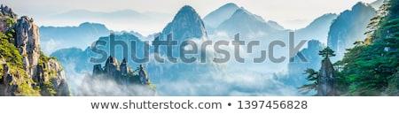 clássico · preto · e · branco · imagem · amarelo · montanhas · China - foto stock © craig