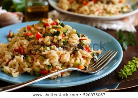 Risotto legumes cozinhado preto panela comida Foto stock © simply