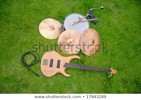 Musical instruments, guitar, drum, plates on grass. Stock photo © Paha_L