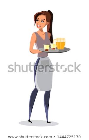 Stock fotó: Pincérnő · hordoz · tálca · italok · kezek · szerver
