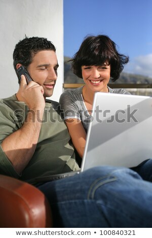 Elated couple learning happy news Stock photo © photography33