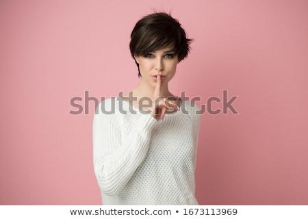 Gyönyörű nő kifejez csend ujj ajkak fehér Stock fotó © CandyboxPhoto