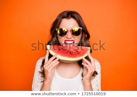 lány · eszik · görögdinnye · lédús · fű · boldog - stock fotó © oleksandro