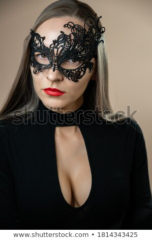 Fashion style - theatrical golden girl face Stock photo © gromovataya