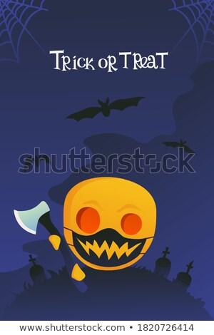 halloween card with pumpkin and ax Stock photo © marinini