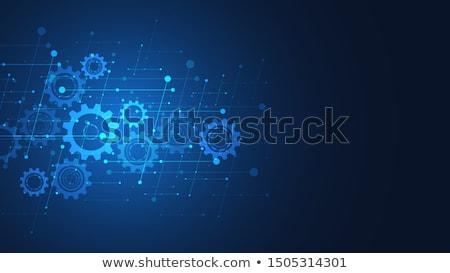 Stockfoto: Blauw · versnellingen · eps · 10 · bouw · technologie