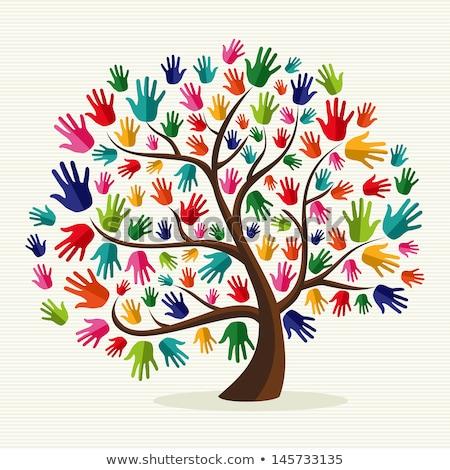 Föld színes kezek kéz terv világ Stock fotó © dagadu
