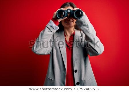 Zachwycony kobieta lornetki biały usta korporacyjnych Zdjęcia stock © wavebreak_media