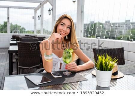 幸せな女の子 · 幸せ · フィット · 若い女性 · トレーニング - ストックフォト © elenaphoto