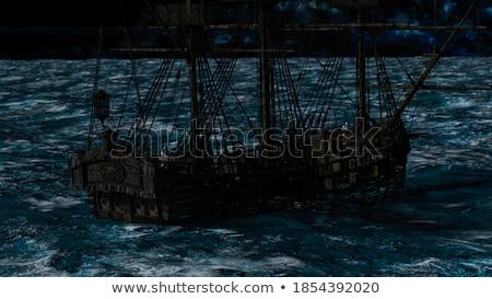 vitorlás · éjszaka · köd · víz · tenger · hold - stock fotó © elenarts