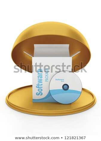 Box with the licensed program on a gold platter. Gift licensed s Stock photo © kolobsek