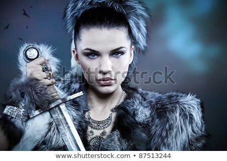 signora · cavaliere · donna · sangue · metal · inverno - foto d'archivio © aikon