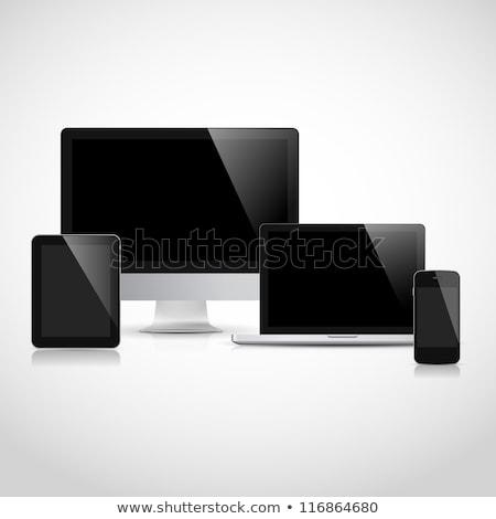 セット · 現実的な · 表示 · 携帯電話 · テンプレート - ストックフォト © alexmillos