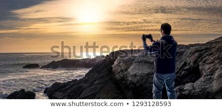 Stock fotó: Naplemente · part · hdr · kép · fa · tájkép