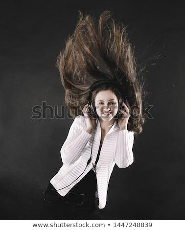 魅力的な 幸せ 女性 ヘッドホン 聞く 音楽 ストックフォト © juniart