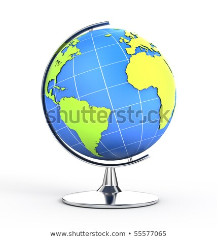 World globe illustration with compass over white background Stock photo © alexmillos