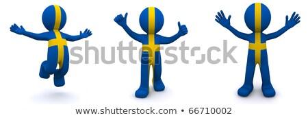 3D karakter mintázott zászló Svédország izolált Stock fotó © Kirill_M