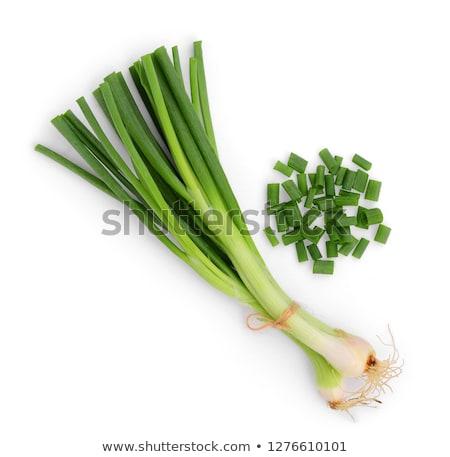 Yeşil soğan kesmek plaka yeşil sebze pişirme Stok fotoğraf © varts