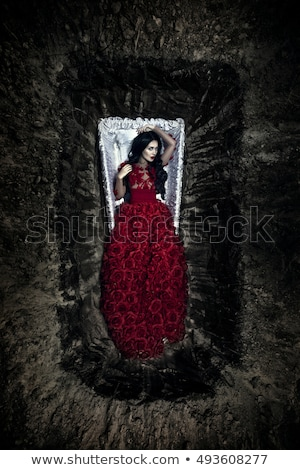 beautiful vampire woman in red dress stock photo © nejron