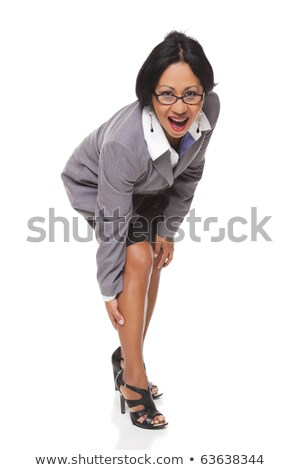 Businesswoman - Latina leg cramp Stock photo © dgilder