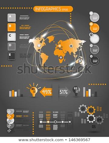 オレンジ インフォグラフィック タイムライン 要素 暗い ベクトル ストックフォト © orson