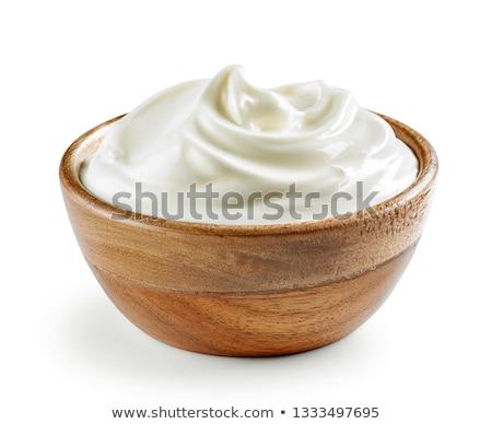 ciotola · panna · acida · bianco · dessert · crema · piatto - foto d'archivio © yelenayemchuk