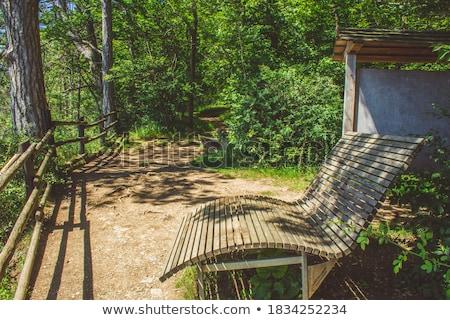 木製の椅子 草 空 雲 青 ストックフォト © njnightsky