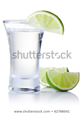 liquor bottle and shot glass filled with clear liquid stock photo © zerbor
