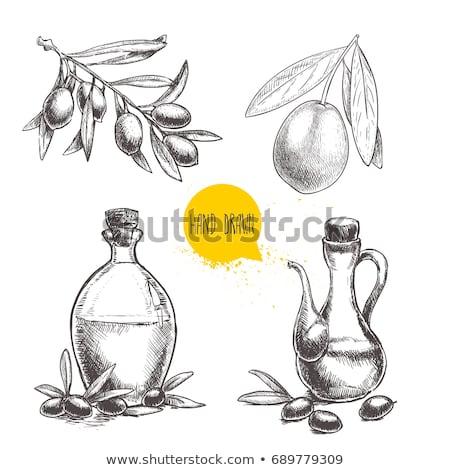 olijfolie · vintage · fles · groene · olijven · zwarte - stockfoto © marimorena