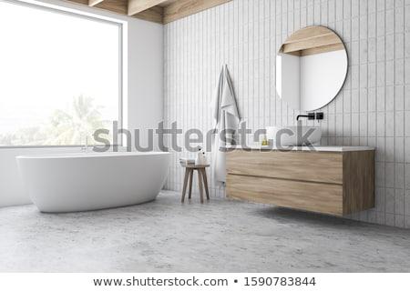moderno · a · casa · branca · banheiro · banheira · clarabóia · mármore - foto stock © wxin