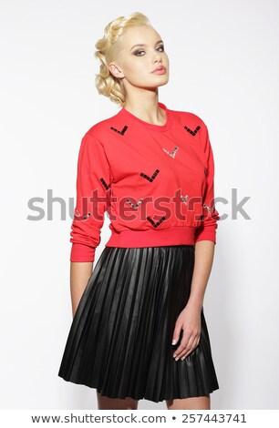 トレンディー ブロンド 赤 ブラウス 黒 スカート ストックフォト © gromovataya
