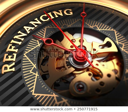 Refinancing on Black-Golden Watch Face.  Stock photo © tashatuvango
