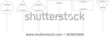 set of wire frame road signs rear view vector illustration stock photo © cherezoff