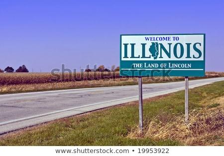 приветствую Иллинойс знак карта путешествия дорожный знак Сток-фото © AndreyKr