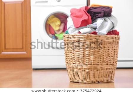 Sale serviettes panier à linge buanderie pourpre laver Photo stock © pixpack