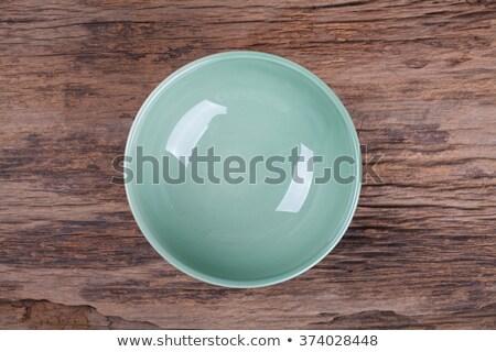 Groene keramische kom geïsoleerd witte ontwerp Stockfoto © GeniusKp