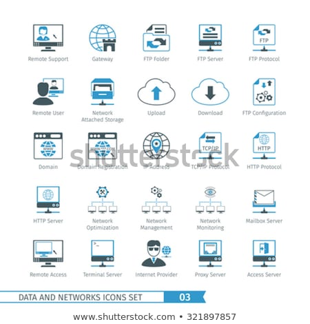 http · protocol · icon · geven · teken · Blauw - stockfoto © genestro