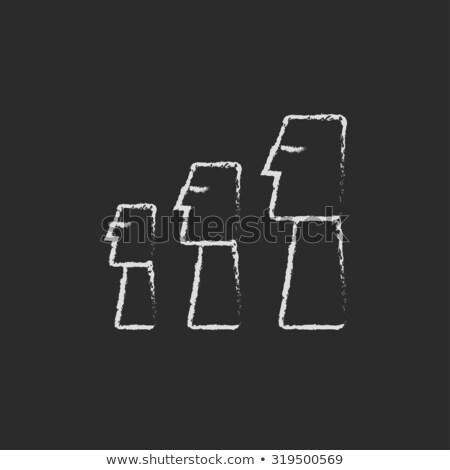 moai statues on easter island icon drawn in chalk stock photo © rastudio