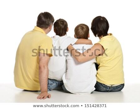 матери детей сидеть назад изолированный белый Сток-фото © Paha_L