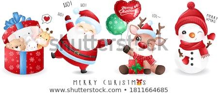 Kerstman kerstboom illustratie sneeuw winter grappig Stockfoto © adrenalina