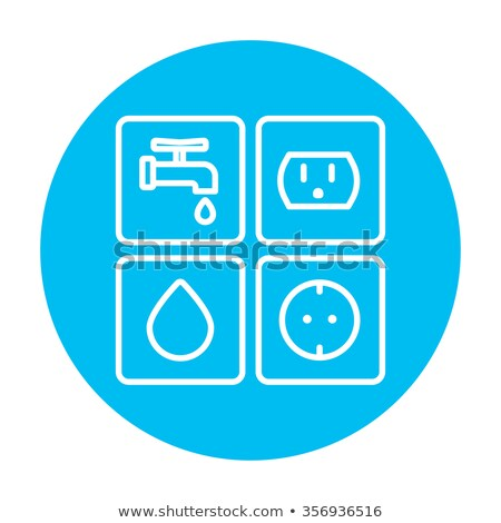 Stock photo: Utilities signs electricity and water line icon.