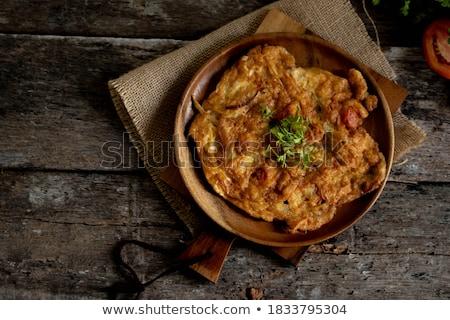 ストックフォト: 卵 · 黄色 · プレート · 朝食 · タマネギ · 単純な