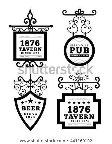 Tavern sign, metal frame with curly elements. Stock photo © m_pavlov
