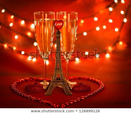 düğün · şampanya · vektör · çiçekler · inciler · sevmek - stok fotoğraf © orensila