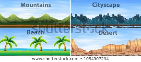 Verschillend illustratie gras landschap berg netwerk Stockfoto © bluering