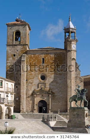 Church of St. Martin in Mayor Square of Trujillo. Caceres, Spain. (Bellfry) Stock photo © Photooiasson