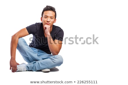 man in Sitting On Floor  pose on white background Stock photo © Istanbul2009