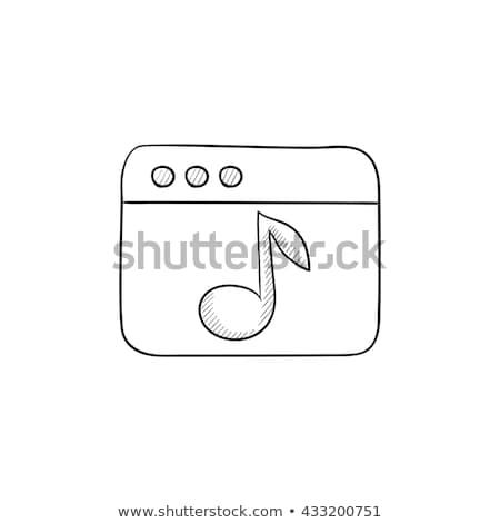 Browser venster muziek nota schets icon Stockfoto © RAStudio