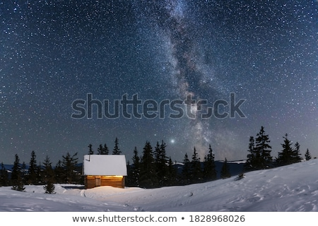 colagem · inverno · paisagem · pôr · do · sol · lago · céu - foto stock © kotenko